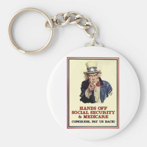Hands Off Social Security Keychain