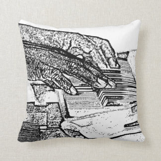 Hands playing piano bw sketch music design cushion
