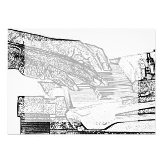 Hands playing piano bw sketch music design personalized announcements
