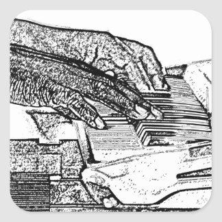 Hands playing piano bw sketch music design stickers