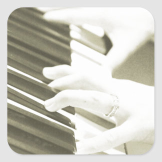 hands playing the piano photograph sepia square stickers
