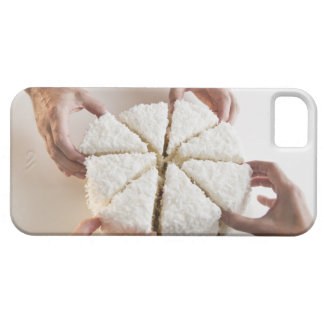 Hands pulling slices from cake iPhone 5 cases