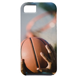 Hands shooting basketball outdoors iPhone 5 case