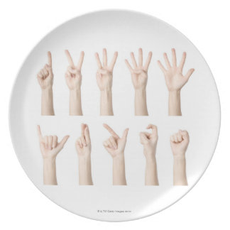 Hands showing Chinese way of counting Plate