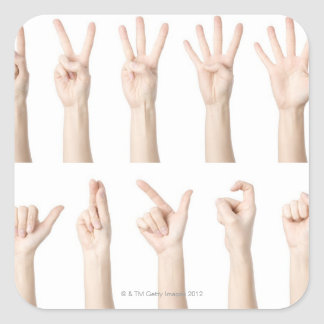 Hands showing Chinese way of counting Square Sticker