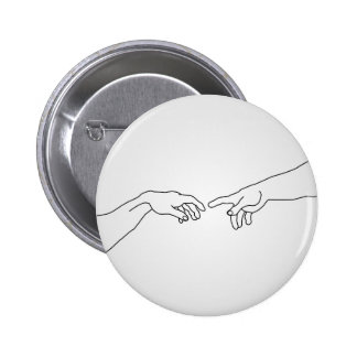 Hands showing the creation of Adam 6 Cm Round Badge