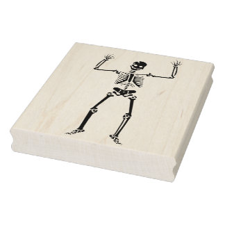 Hands up skeleton illustration art stamp