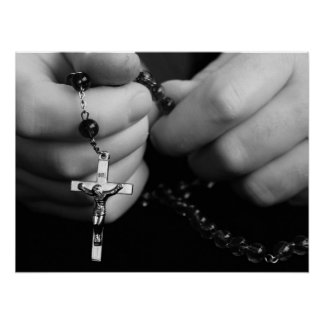 Hands with Rosary Beads Poster
