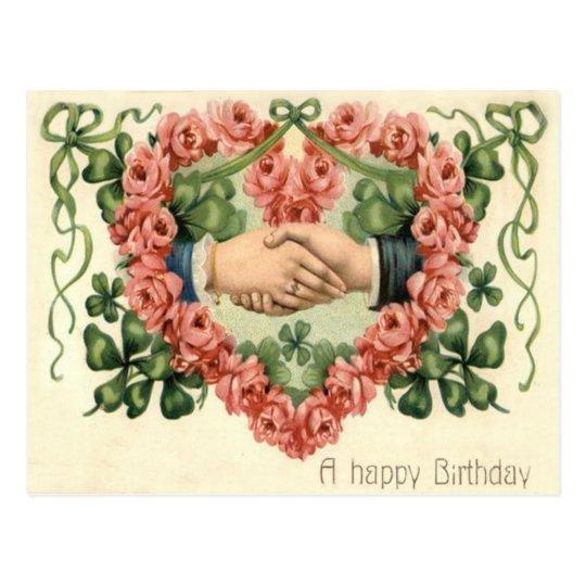 Handshake Rose Heart Four Leaf Clover Postcard
