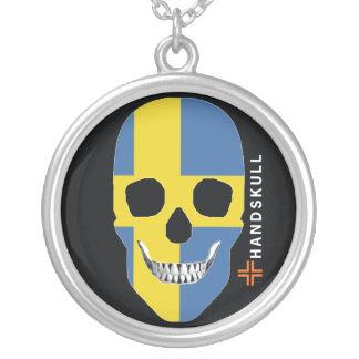HANDSKULL Sweden,Happy skull,Sweden flag Personalized Necklace