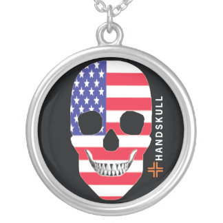 HANDSKULL United States,Happy skull,USA flag Necklaces