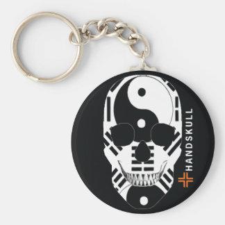 HANDSKULL Ying Yang,Happy skull,Ying Yang flag Basic Round Button Key Ring