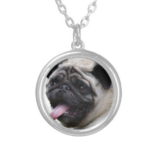 Handsom white Pug photo accessories, add names Silver Plated Necklace