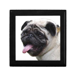 Handsom white Pug photo accessories, add names Small Square Gift Box