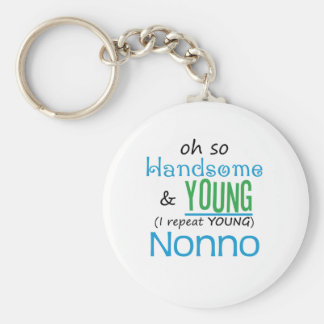 Handsome and Young Nonno Basic Round Button Key Ring