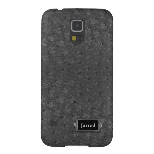 Handsome Black Ostrich Leather Look Case For Galaxy