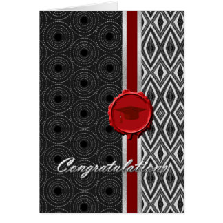 Handsome Black White Red Guy s Graduation Card
