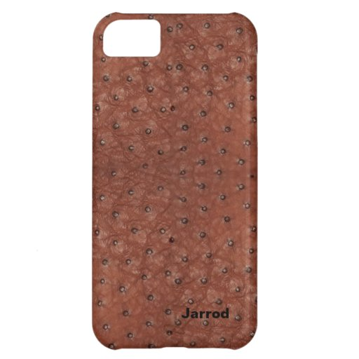 Handsome Brown Ostrich Leather Look Cover For iPhone 5C