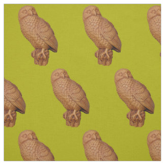handsome brown owl print fabric