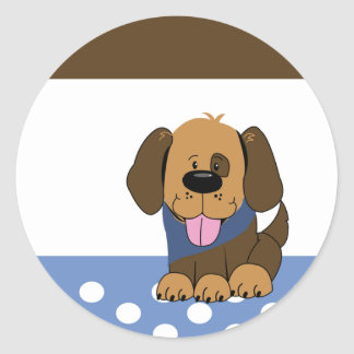 Handsome Brown Puppy Dog Envelope Seals Round Sticker
