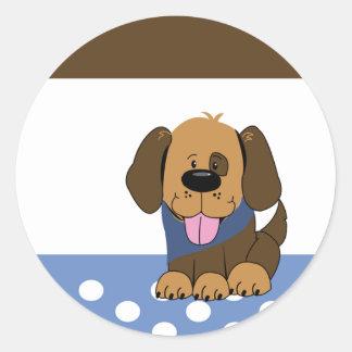 Handsome Brown Puppy Dog Envelope Seals Round Sticker