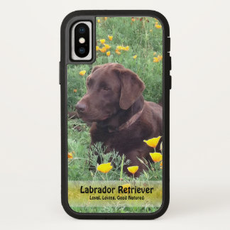 Handsome Chocolate Labrador in Flower Patch iPhone X Case