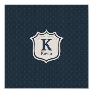 Handsome Dark Navy Blue Pattern Men's Monogram 13 Cm X 13 Cm Square Invitation Card