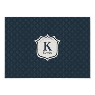 Handsome Dark Navy Blue Pattern Men's Monogram 13 Cm X 18 Cm Invitation Card