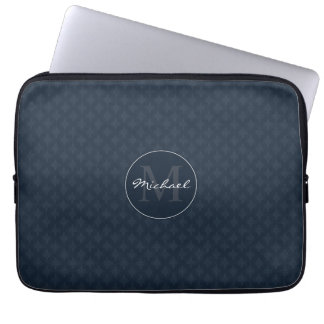 Handsome Dark Navy Blue Personalized Monogram Laptop Sleeve
