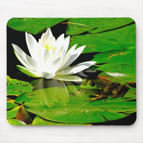 Handsome Frog with White Lily Flower Mouse Mat
