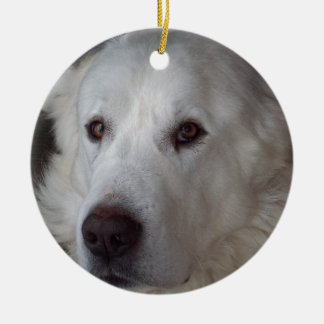 Handsome Great Pyrenees Dog Round Ceramic Decoration