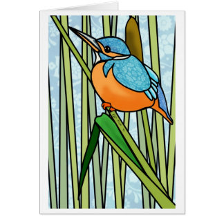 Handsome Kingfisher in the Reeds Greeting Cards