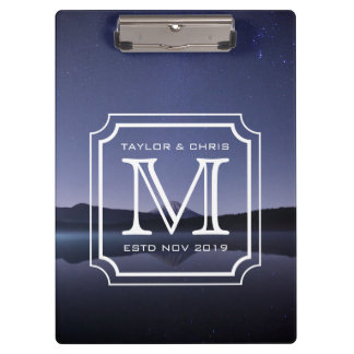Handsome Monogram Beautiful Landscape Photo Simple Clipboard