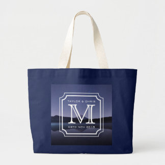 Handsome Monogram Beautiful Landscape Photo Simple Large Tote Bag