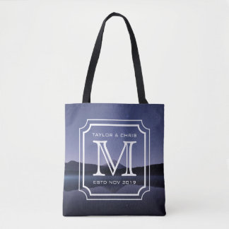 Handsome Monogram Beautiful Landscape Photo Simple Tote Bag