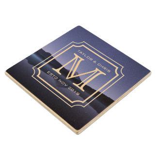Handsome Monogram Beautiful Landscape Photo Simple Wood Coaster