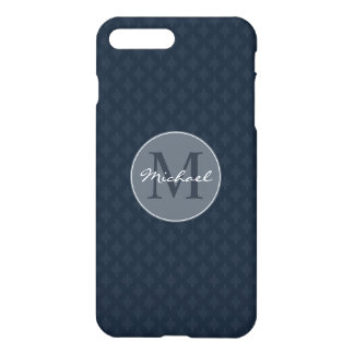 Handsome Navy Blue Masculine Personal Monogram iPhone 8 Plus/7 Plus Case