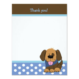 """HANDSOME PUPPY 4x5 Flat Thank you note 4.25"""" X 5.5"""" Invitation Card"""