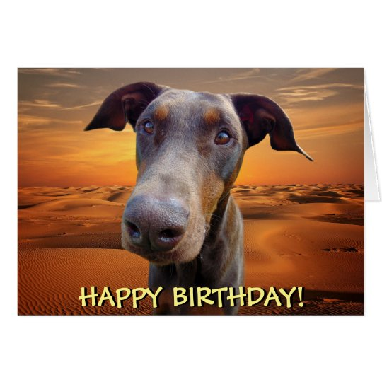 Handsome red doberman birthday card