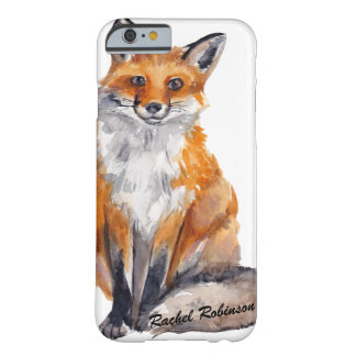 Handsome Watercolor Fox - Personalised with Name Barely There iPhone 6 Case