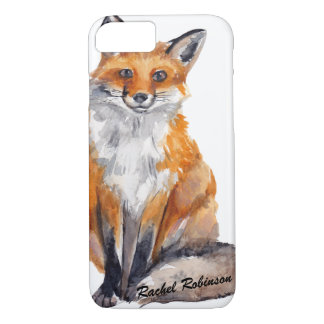 Handsome Watercolor Fox - Personalised with Name iPhone 7 Case