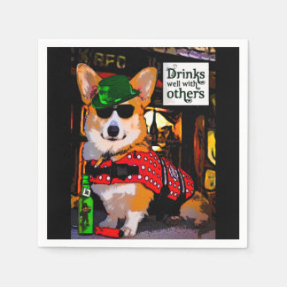 Handsome Welsh Corgi in a Bar Disposable Napkin