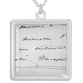 Handwriting and Signature Silver Plated Necklace