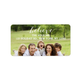 Handwriting Believe | Holiday Photo Address Labels