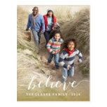 Handwriting Believe   Holiday Photo Postcard
