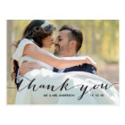 Handwriting Black 2 Photo Wedding Thank You Postcard