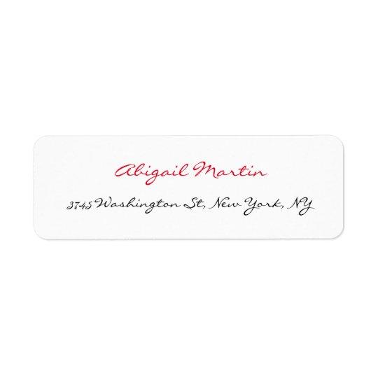Handwriting Script Unique White Professional Return Address Label
