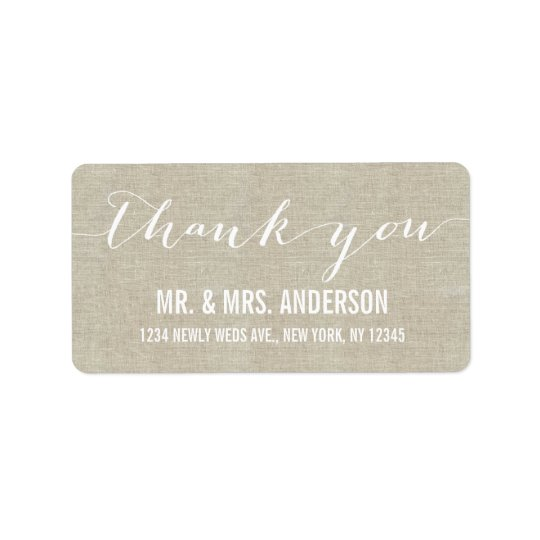 Handwriting Script Wedding Thank You Beige Linen Label