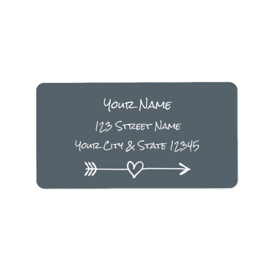 Handwriting typography heart arrow address labels