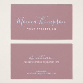 handwritten cursive name on feminine dusty rose business card